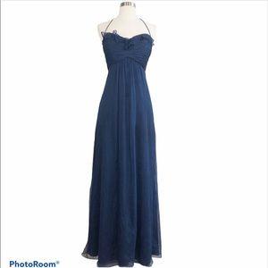 Amsale Navy Blue Silk Bridesmaid Long Gown Dress